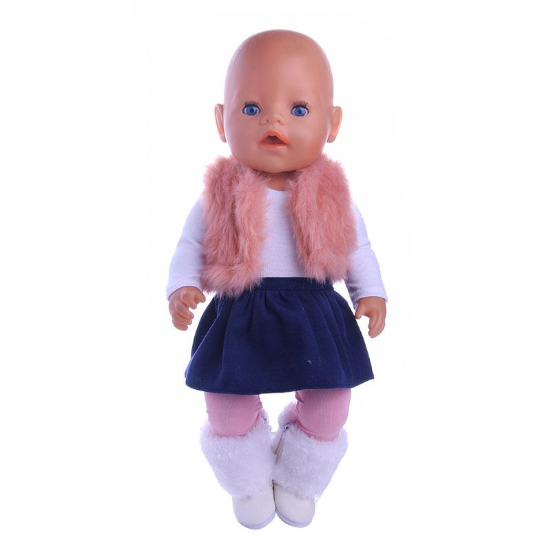 Plush Vest Suit 4 Pcs=Vest+Leggings+Long Sleeve+Skirt Fit 18 Inch American&43cm Baby-Doll Clothes&Pants Accessories,Child's Toys