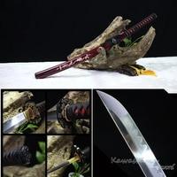Grade A Japanese Wakzashi Katana Handmade 1095 Carbon Steel Clay Tempered Full Tang Real Sword Wine Red Scabbard Inlay Shells