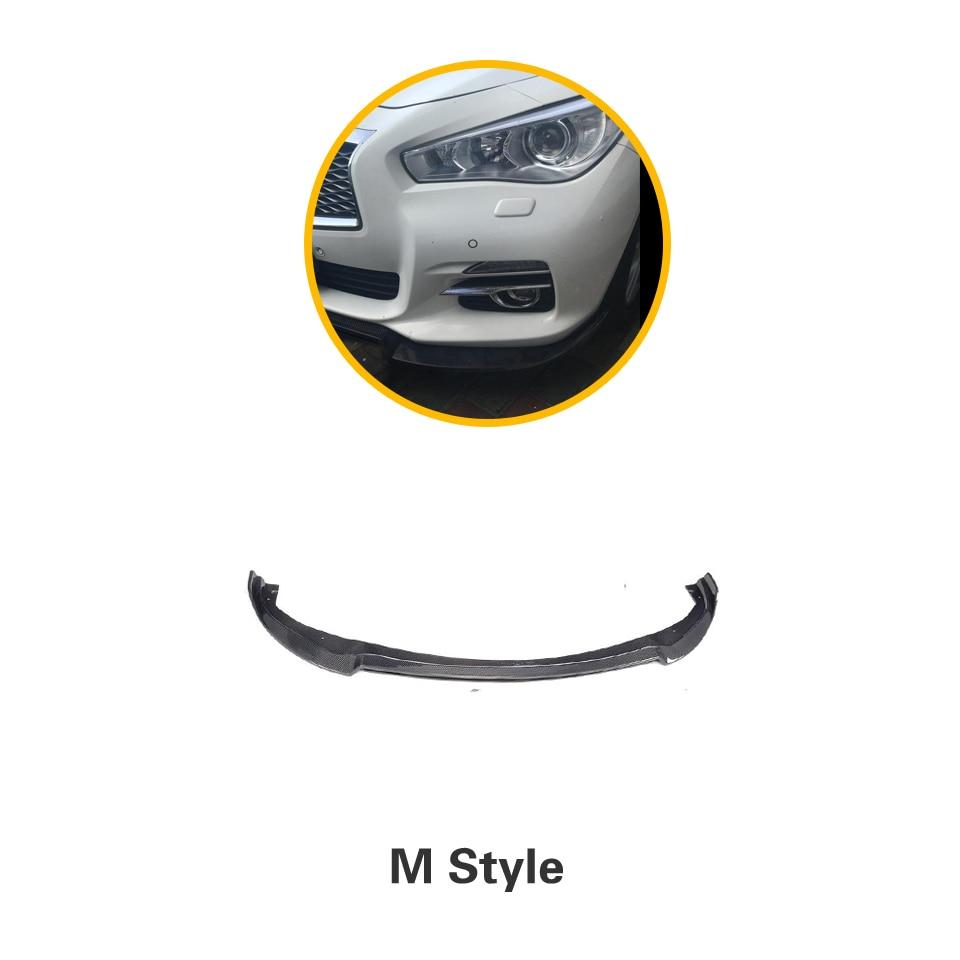 Углеродное волокно передний бампер спойлер сплиттеры для Infiniti Q50 стандартный бампер только 2013 - Цвет: M Style