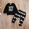 WANGSAURA Recién Nacido de Los Bebés de La Manera Ropa de Algodón Tops camiseta + Pantalones Leggings Trajes Set de Algodón Negro