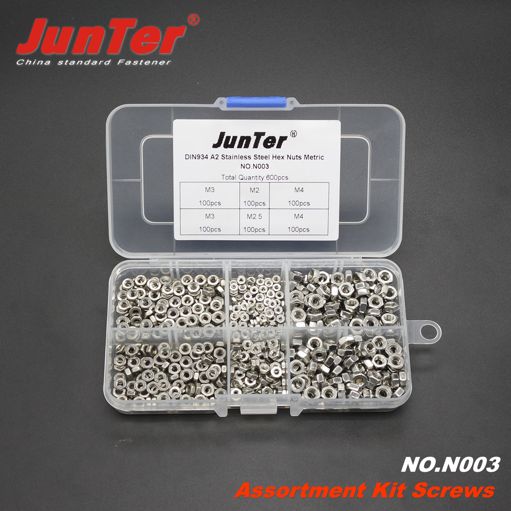 600pcs DIN934 M2 M2.5 M3 M4 A2 Stainless Steel Hex Nuts Metric Assortment Kit NO.N003  цена и фото