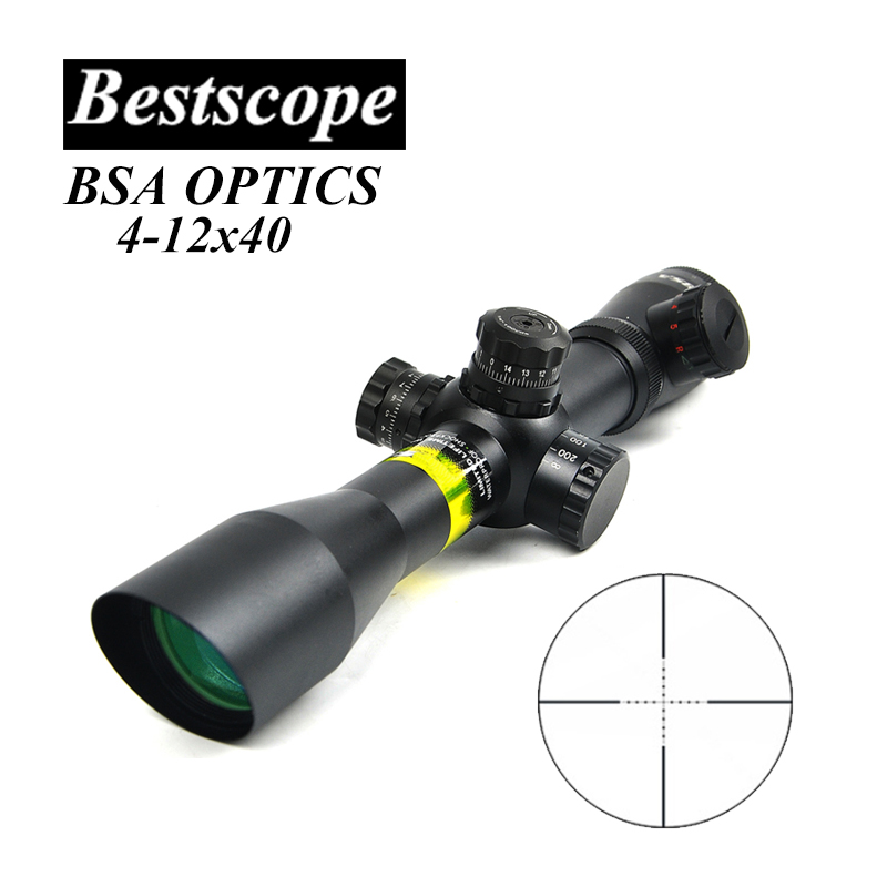 BSA OPTICS 4 12X40 AOE Oblique Mouth Optics Rifle Scope Red Green Illuminated Mil Dot Riflescope