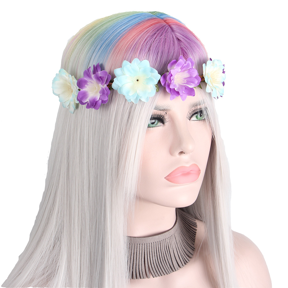 Anxin Halloween Costume Gray Wigs For Women Multicolor