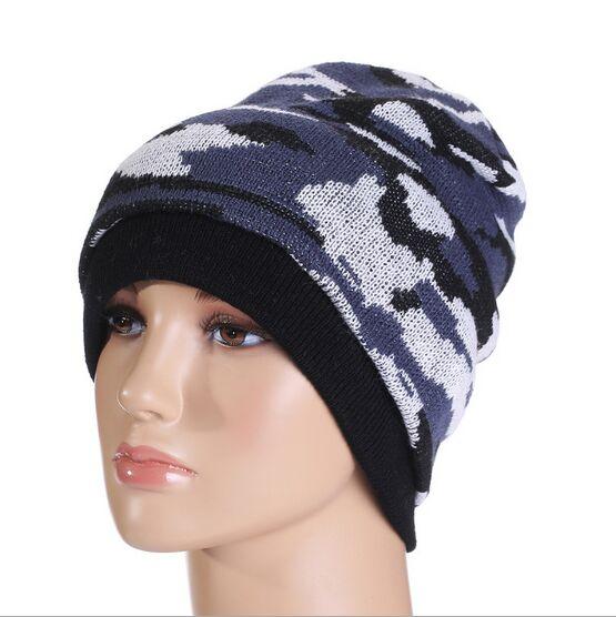 aea79de21f351 Camuflagem moda Gorros Hat para Homens Mulheres de Inverno Ao Ar Livre  Quentes Chapéus de Tricô Colorido Hedging Cap Gorro Toucas HT51056 + 35