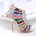 Chaveiro!Novelty crystal High Heel Keychains Rhinestone Shoe Keyring charm Women Handbag alloy key holder bag Jewelry gift R003