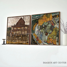 egon schiele self portraits and portraits scenery mural print landscape canvas painting masterpiece reproduction The houses arc  and old houses landscape By Egon Schiele