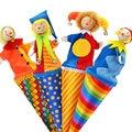 Marca do bebê bonito do palhaço pop up puppets / de madeira telescópica vara da boneca / crianças presentes de aniversário das crianças / brinquedos de pelúcia boneca para infantil