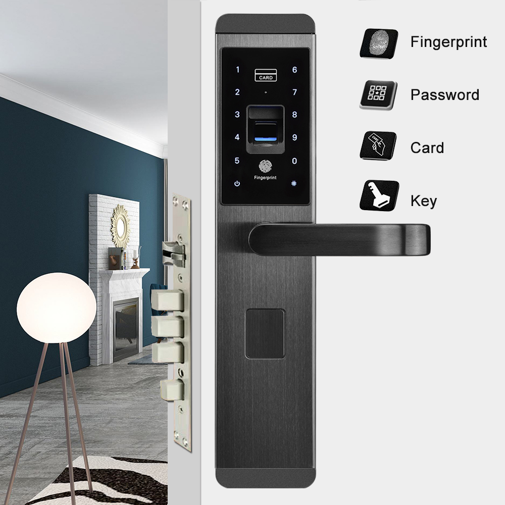 Fingerprint Door Lock Semiconductor Fingerprint Password Key Card 4 in 1 Intelligent Lock Electronic Smart Door