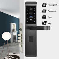 Fingerprint Door Lock Semiconductor Fingerprint / Password / Key / Card / 4 in 1  Intelligent Lock Electronic Smart Door Locks