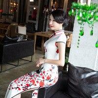 Nova Chegada Fino Longo Qipao das Mulheres Vestido Cheongsam Chinês Das Senhoras Da Novidade Sexy Flor Vestido Plus Size S M L XL XXL XXXL J111408