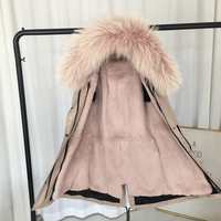 Women real fur parka winter warm natural large raccon dog fur collar with real rex rabbit fur liner coat winter jacket 90CM