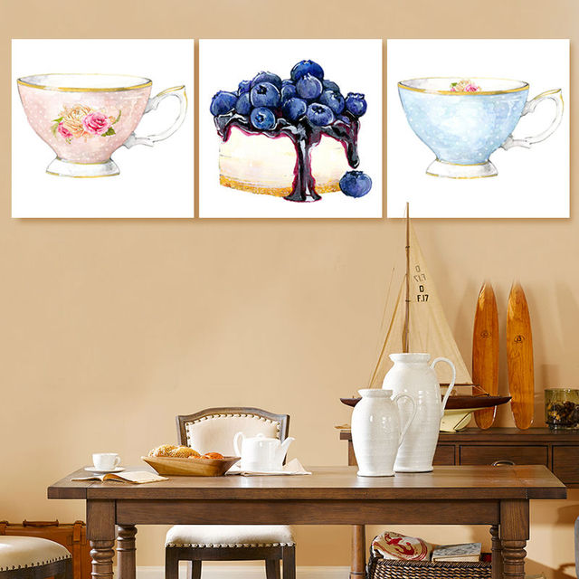 diy oil painting Tea cup cake wall pictures for living room digital ...