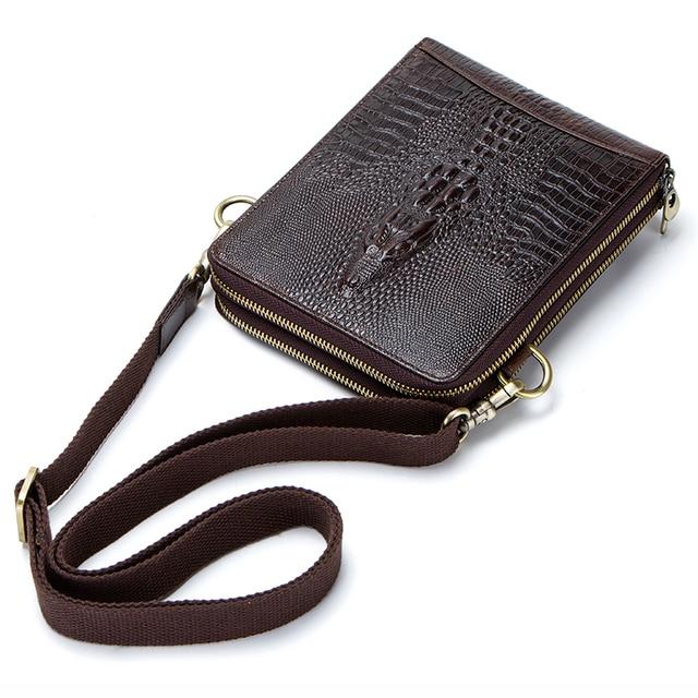 Top Quality Men Messenger Shoulder Bag Genuine Leather Vintage Men's Crocodile Crossbody Bag With Card Holder Mobile Phone Pouch 3