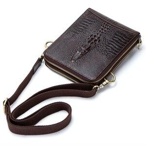Image 4 - Top Qualität Männer Messenger Schulter Tasche Aus Echtem Leder Vintage männer Krokodil Umhängetasche Mit Karte Halter Handy Tasche