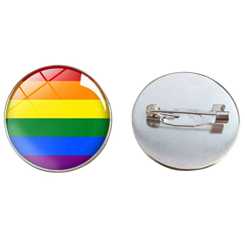 LBGT Pride Brooch Gay Lesbian <font><b>Bisexuals</b></font> Transgender Rainbow Glass Charms Metal Badge Brooches Homosexual Love <font><b>Jewelry</b></font> image