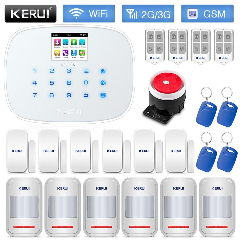 KERUI W193 RFID Card Wireless Burglar Home Security Alarm System WCDMA GSM WIFI PSTN Mode Low Power Reminding White Black Panel
