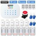 KERUI W193 tarjeta RFID inalámbrico sistema de alarma de seguridad para el hogar WCDMA GSM WIFI PSTN Modo de baja potencia recordatorio blanco negro panel