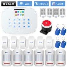 KERUI W193 بطاقة التعريف بالإشارات الراديوية لص نظام إنذار أمان المنزل WCDMA GSM واي فاي وضع PSTN منخفضة الطاقة تذكير لوحة بيضاء سوداء