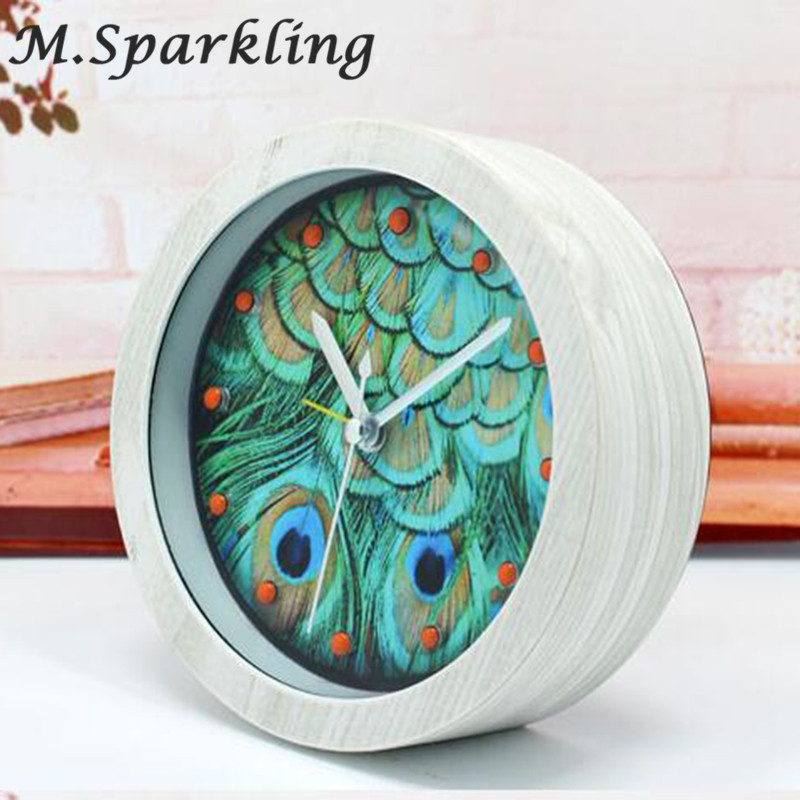 Lazy Antique Style Table Clock Circular Office Clock Creative Cute Peacock Alarm Clock Wooden Home Decor Desktop Clock Bed Smoothing Circulation And Stopping Pains Alarm Clocks Home & Garden