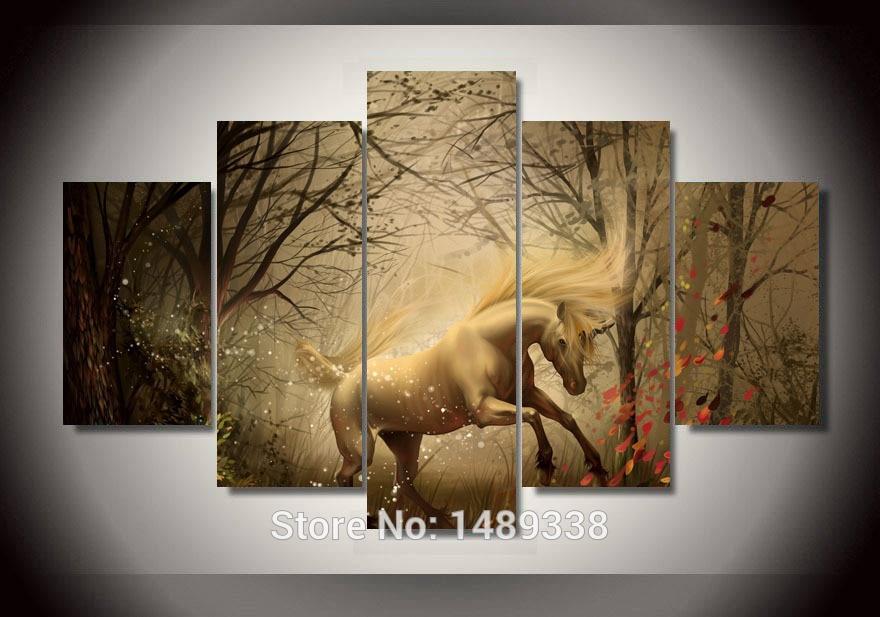 Enmarcado 5 Panel decoración del Hogar Arte de La Pared Del caballo ...