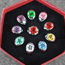 10pcs/Lot Anime Cosplay Naruto Akatsuki Members Ring Set