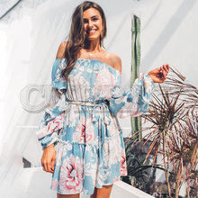 CUERLY Elegant slash neck Floral print women dress Casual lantern sleeve sashes summer Bohemian ruffled ladies dresses