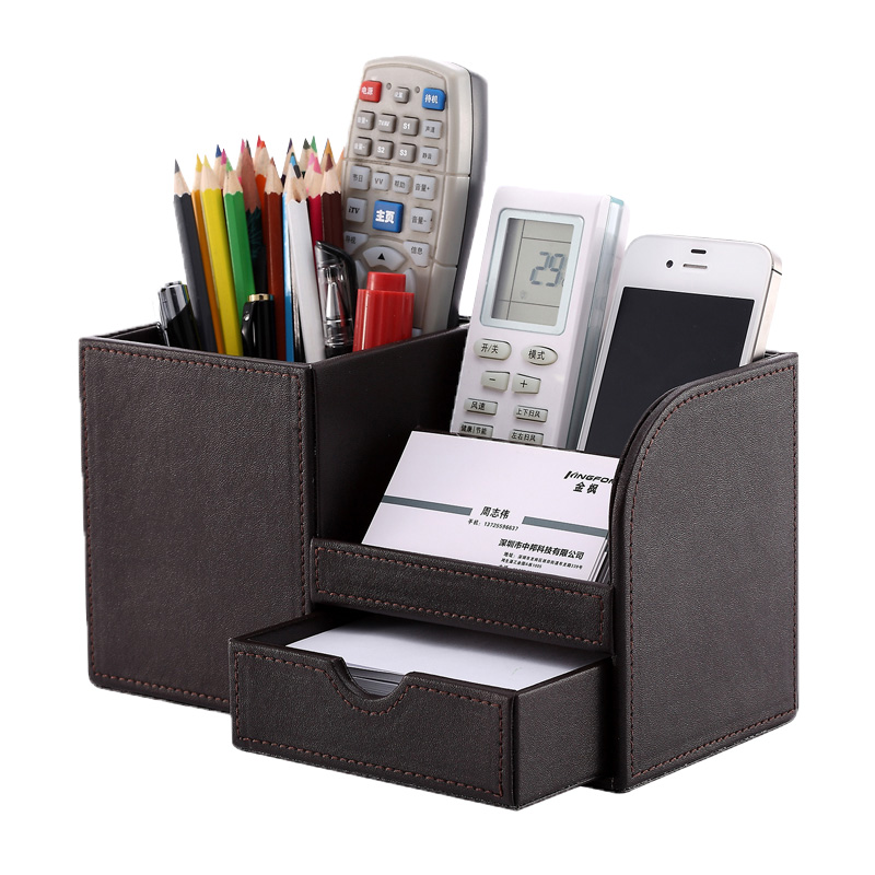 Multi-Functional Desk Stationery Box Desk Organizer Storage Box Wooden PU leather Pen Holder Pencil Accessories Case