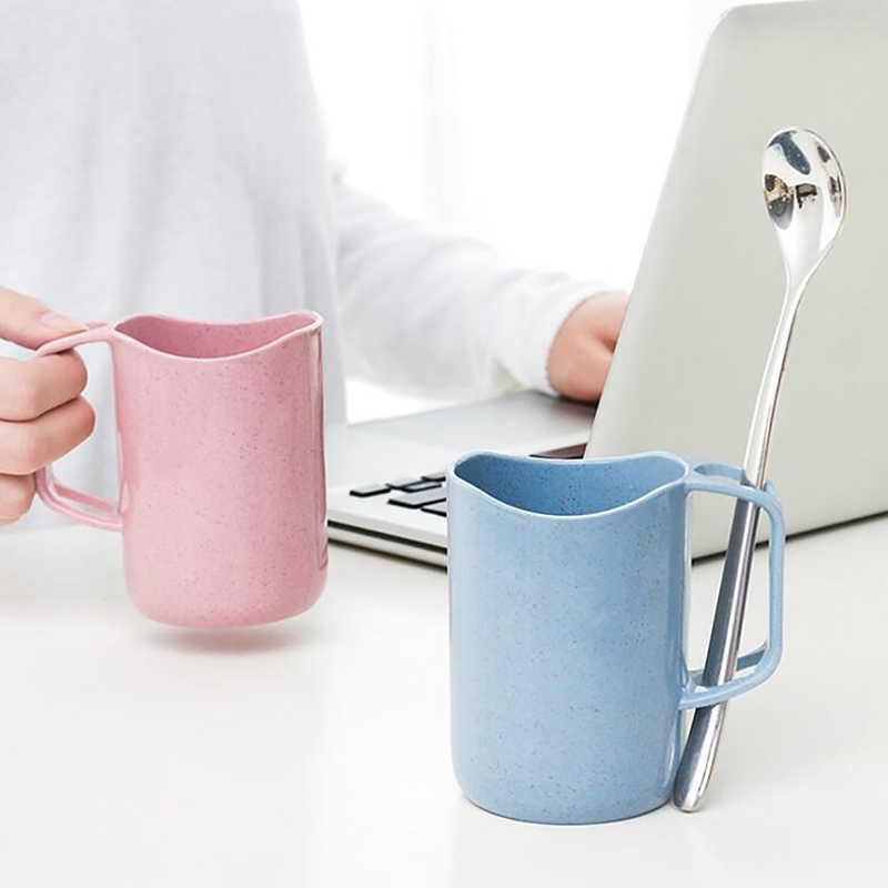 Горячая 1 шт. пшеничная кружка с ремнем держатель для зубной щетки чашка с ручкой органайзер для ванной комнаты портативная туристическая кружка