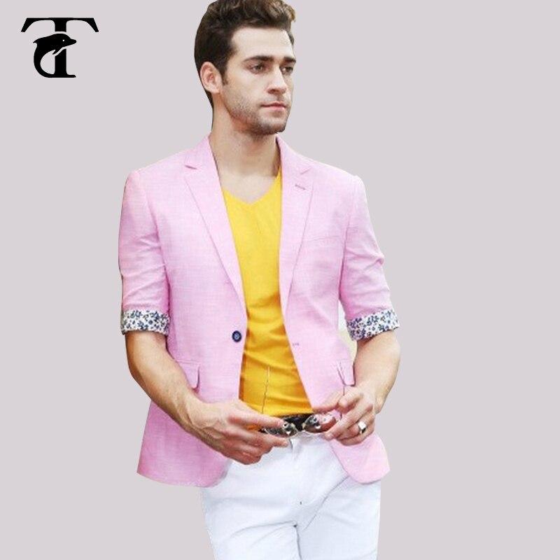 2017 Beliebte Design Herren Marke Halbe Hülse Designer 100% Baumwolle Männer Blazer Jacke Mäntel Slim Fit Anzug Stilvolle Blazer Für Männer