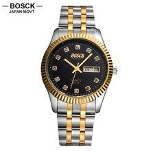 BOSCK Cuarzo Hombres Del Reloj de Oro de Diamantes Papel oyster Relojes Masculinos Relojes Casuales 3012 relogio masculino dourado ofertas