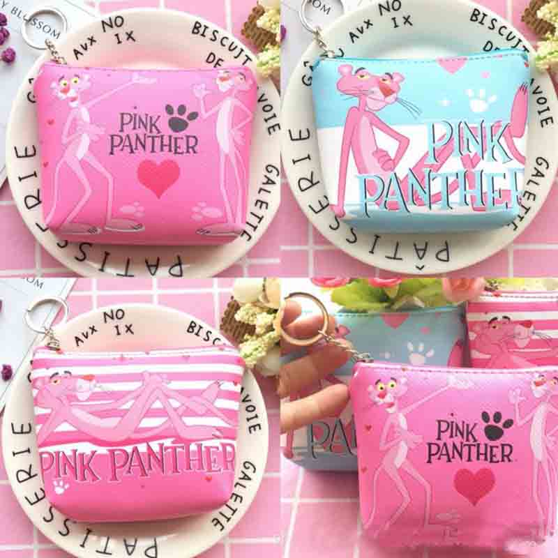 1 Pcs Cartoon Hot Sale Pink Panther PU School Coin Purse Bag Stationery Animal Zipper Mini Bag Boys Girls School Supplies