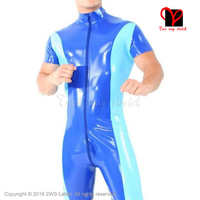 Two Color Sexy Latex Jumpsuit Unitard Sexy Zentai overall Latex Catsuit rubber catsuit stocking romper XXXL plus size LT 046