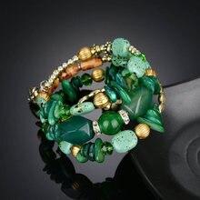 1PC multi-layer bracelet retro imitation natural stone pine  beaded winding bracelet Support 1 generation