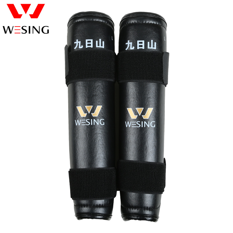 Wesing Shin Guards Leg Protective Gear Knee Pad Holder Straps Muay Thai Taekwondo Karate kickboxing Black Knee Support (Pair)