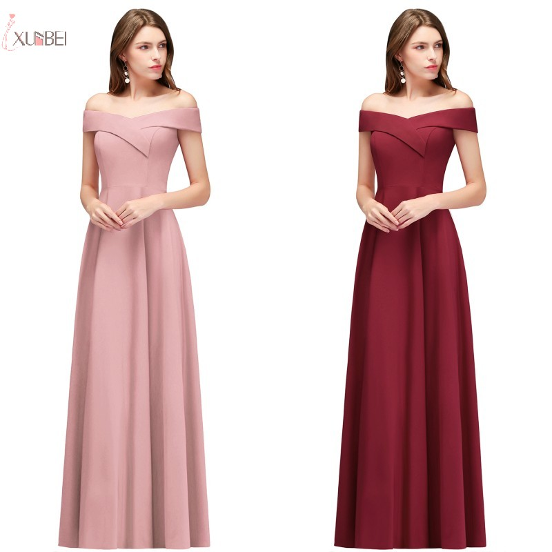 New Sexy 2019 Navy Blue Pink Burgundy Long   Bridesmaid     Dresses   Off The Shoulder Sleeveless Wedding Party Gown vestido madrinha