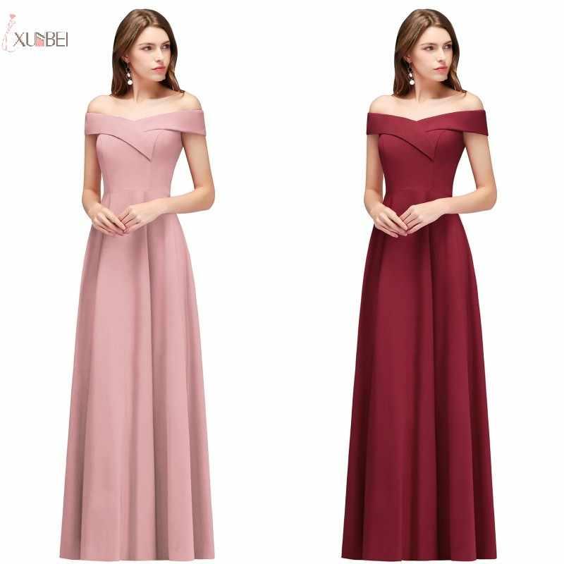Nuevo Sexy 2019 azul marino Rosa Borgoña largo vestidos de dama de honor sin mangas del hombro vestido de fiesta de boda vestido madinha