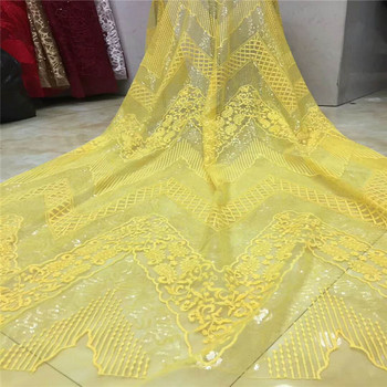 2019 latest yellow sequins french lace fabric high quality nigerian tulle lace fabric for luxury evening dresses   BK004