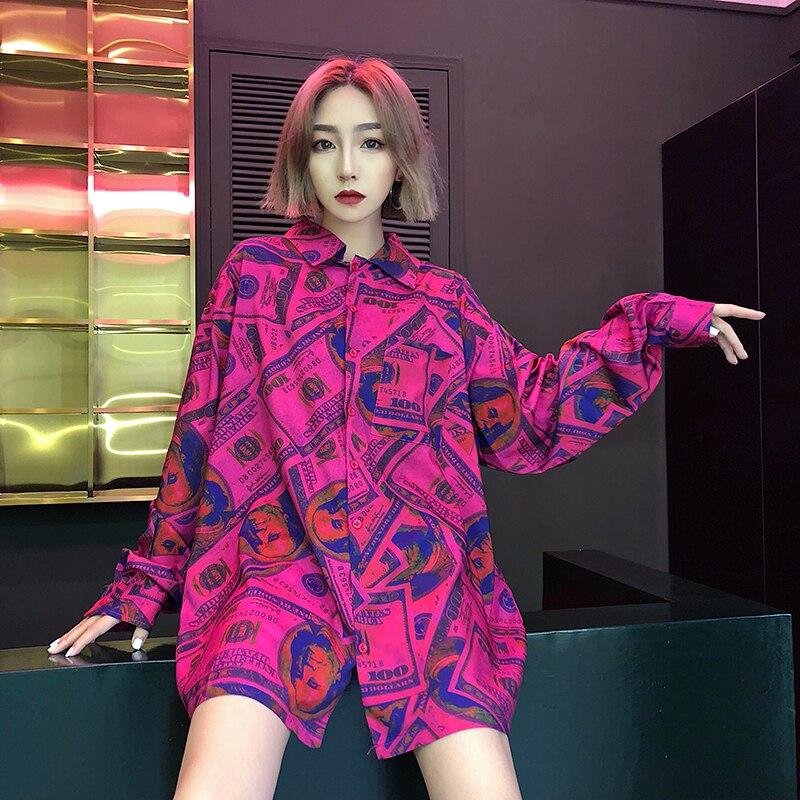 Women Printed Tops 2019 Spring Autumn Fashion Ladies Street Wear Long Sleeve America Dollar Blouses Stylish Harajuku Shirts