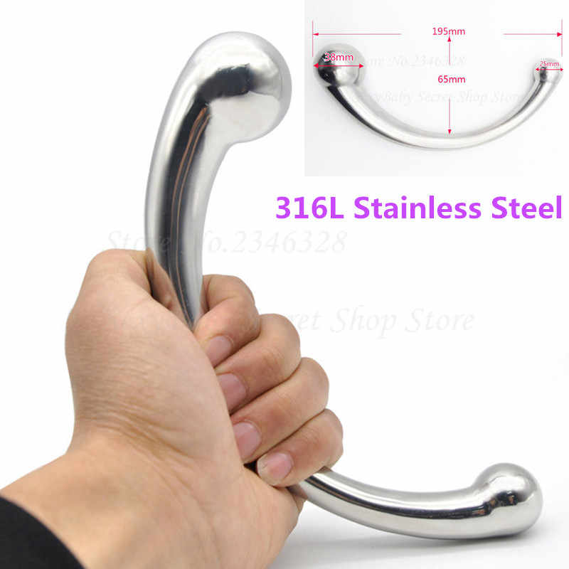 316L Stainless Steel G-Spot Wand Massage Stick Pure Metal Penis P-Spot Stimulation Anal Plug Dildo Sex Product For Women Men Gay