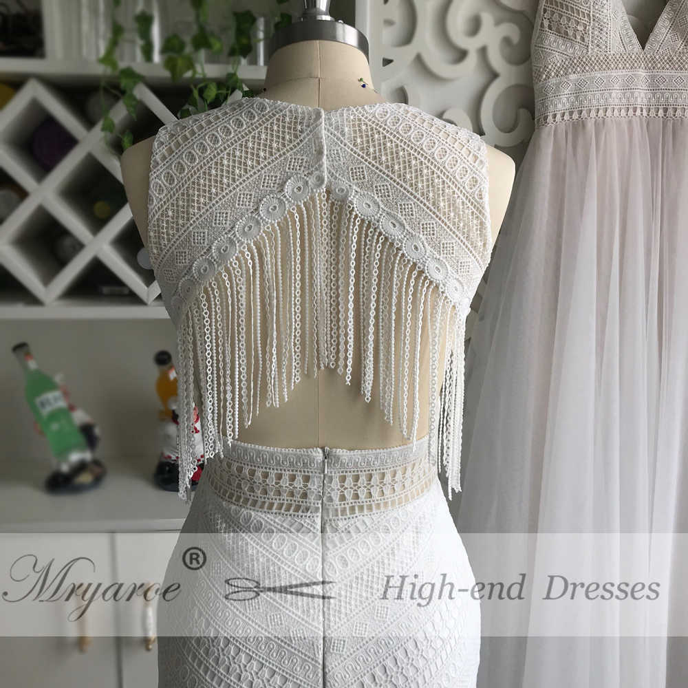 eb1154bb6cb4 ... Mryarce New BOHO Chic Unique Lace Wedding Dress Bohemian Long Bridal  Gowns Amazing Tassel Open Back ...