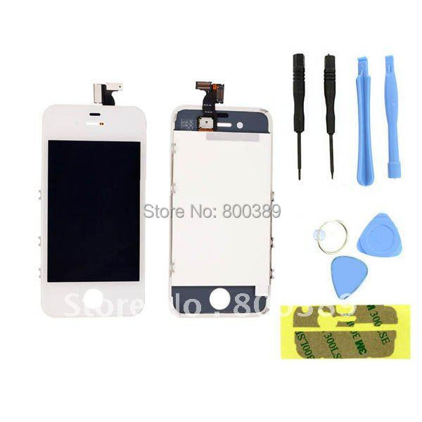 Wholesale For iphone 4G White LCD Touch Screen Digitizer Glass Assembly Replacement + Customized 8 Units Tool Kit Free Shipping