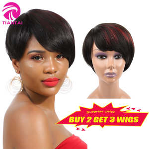 Wigs Short Human-Hair Pixie Brazilian Remy Black P-Color Women for Bob Cut 1B/530 7-Inch