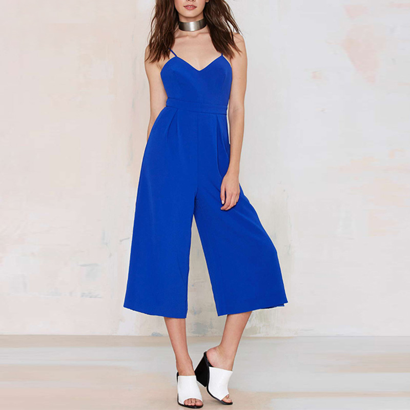 HAOYOUDUO 2017 Backless Spaghetti Strap Plus Size High Waist Summer New Women Casual Sleeveless Jumpsuit Calf Length Pants