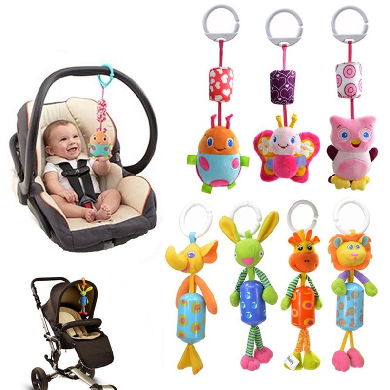 7 stílus Újszülött babaágy autó Lógó gyűrű Bell Rattle puha játékok Babakocsi Lógó gyűrű mini zenei játékok ajándékok 30% kedvezmény