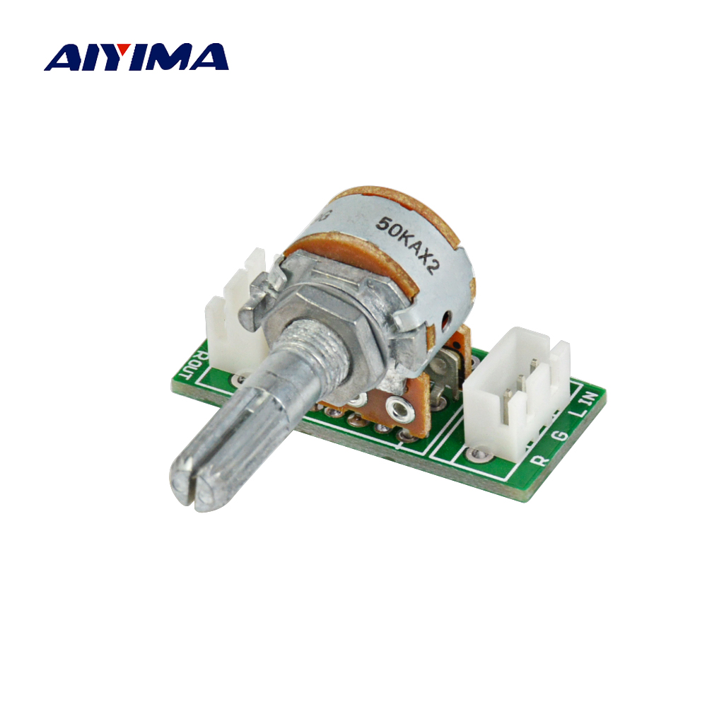 Aiyima 1PC A 50K ALPS Potentiometer RK16 Double 6-Pin Volume Potentiometer PCB Board With XH2.54 9011 double precision potentiometer [c100k with stepper ] a50k 9mm lo sets