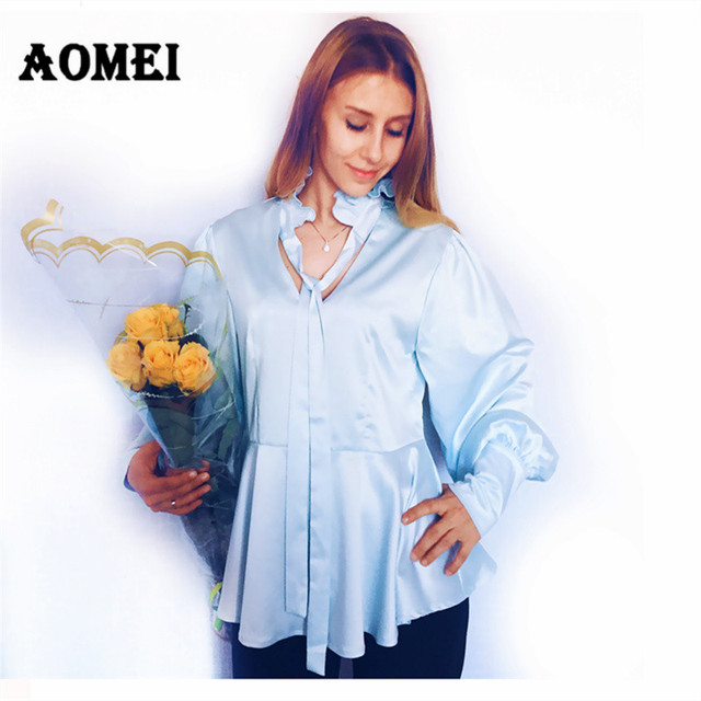 d4cc40d45f Blusa feminina Decote Em V com Gola de Babados Blusas e Camisa Manga longa  Lanterna Azul