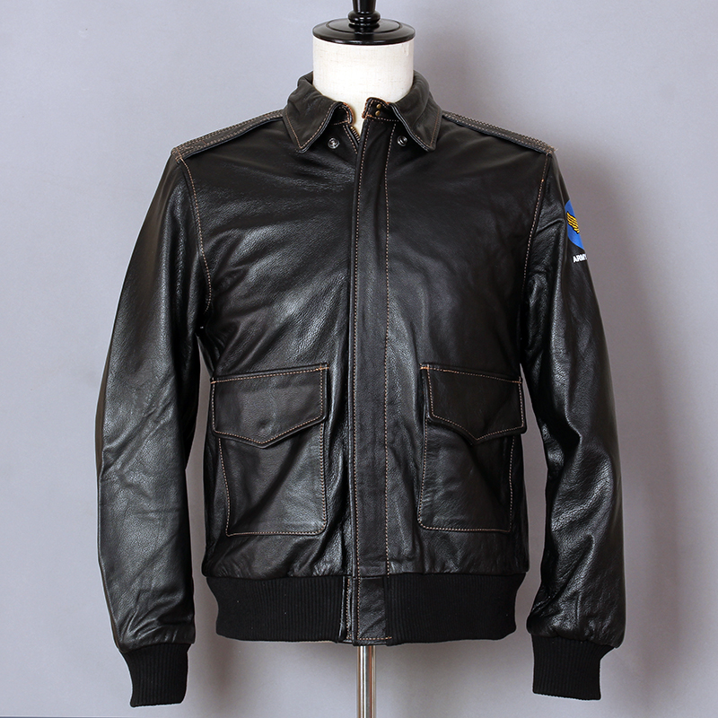 Flight Jacket Biker Motorcycle Real-Leather Coat Air-Force Cowhide A2 Slim Men