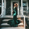 Sexy Sheath Red Satin Dresses Floor Length Evening Party Dress Off The Shoulder DIY Strap Bodycon