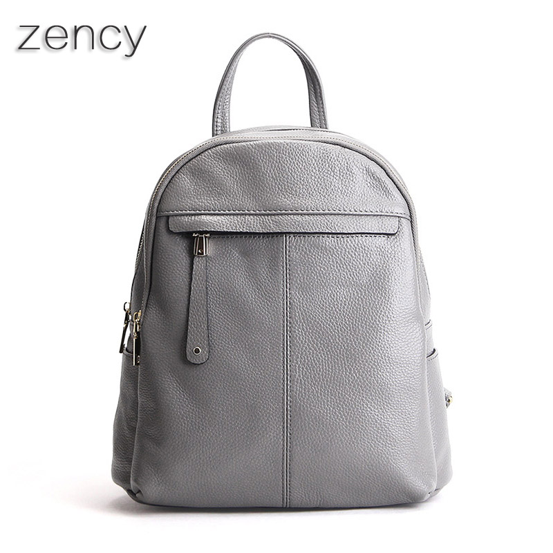 ZENCY Genuine Leather Women Backpacks Ladies Girls Backpack Top Layer Cowhide School Bag Female Knapsack Rucksack zency genuine leather backpacks female girls women backpack top layer cowhide school bag gray black pink purple black color