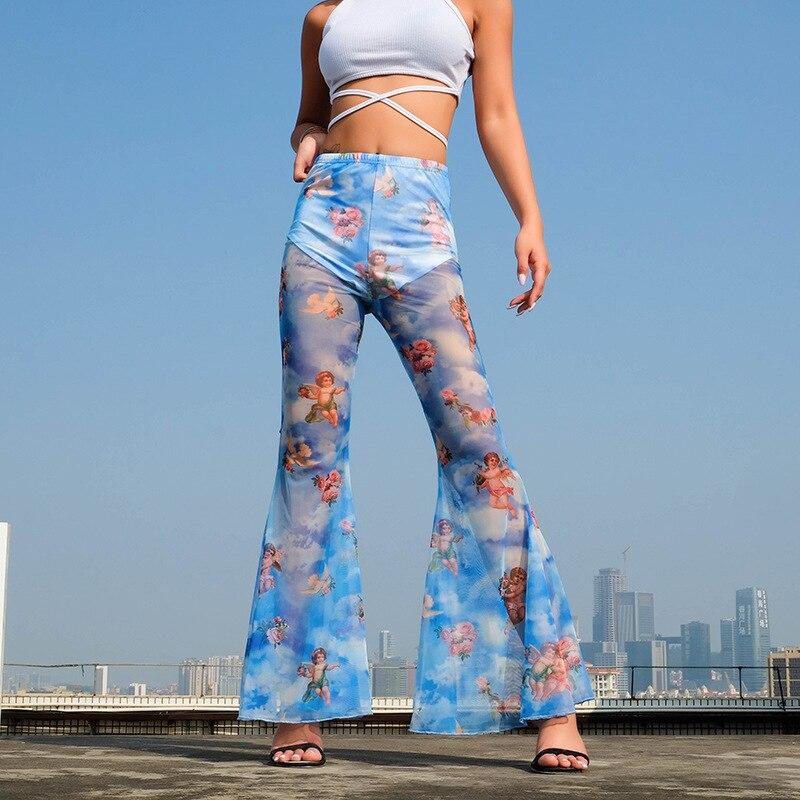 Sexy Sweatpants for Women   Wide     Leg     Pants   Sheer Mesh Trousers Flare   Pants   High Waist Print   Pants   Pantalones 2019 Hot Sale
